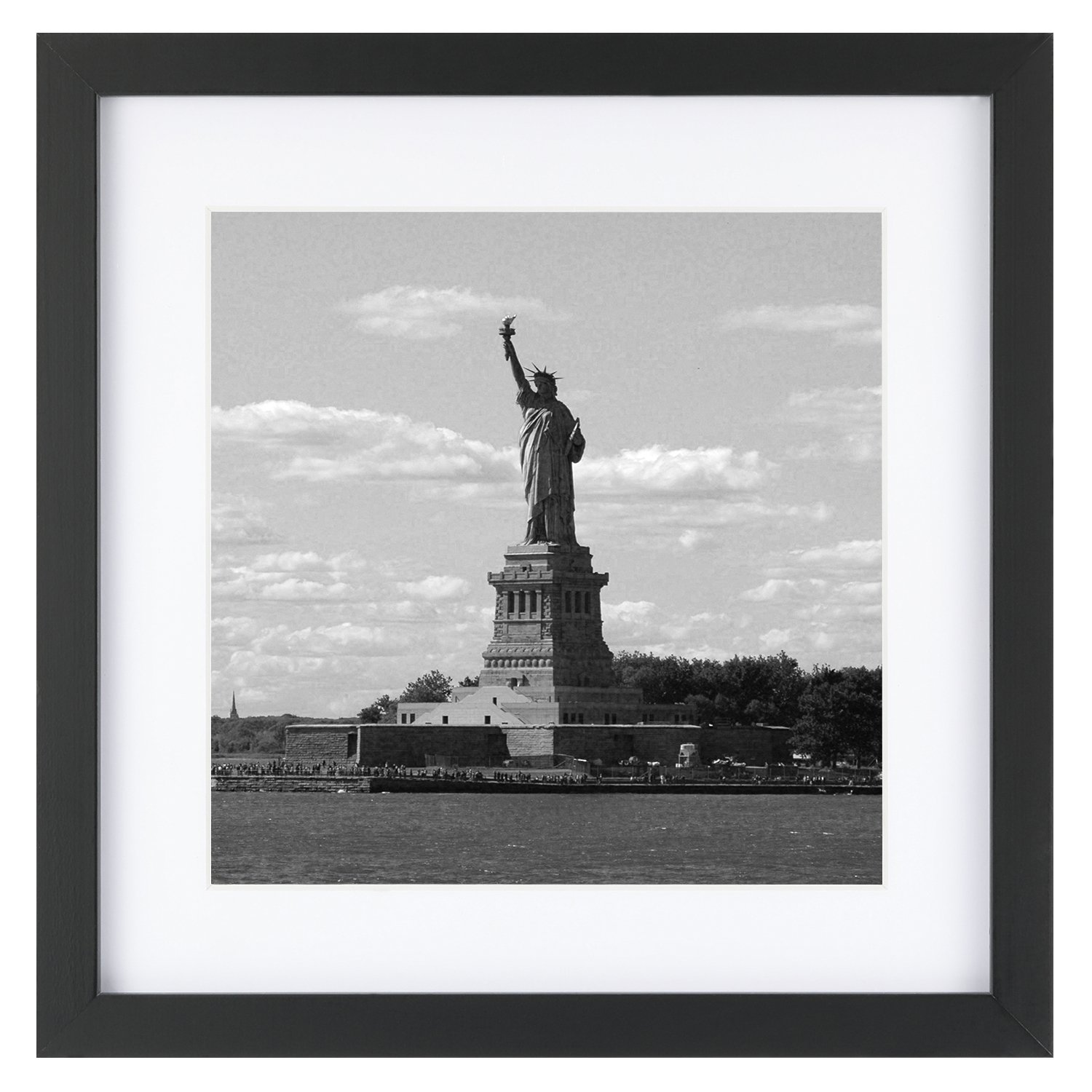 One Wall Tempered Glass 11x11 Picture Frame with Mats for 8x8 Photo, Black Wood Frame for Wall and Tabletop (Mounting Material Included) by One Wall