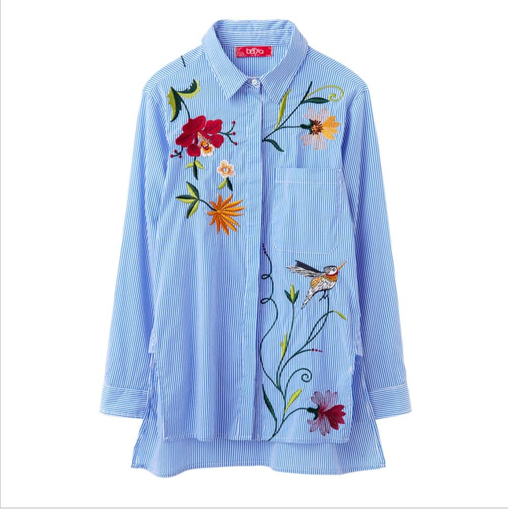 Denise Lamb Camicia Donna Camicia Ricamata Camicia A Righe Giacca in Gi/ù Il Colletto Fino su Lunghe Maniche T-Shirt Top