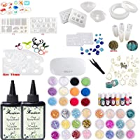 2X100ML Crystal Clear Transparent Epoxy Resin UV-led Resin Non-Toxic, 36 Pcs Decoration with Tweezer, 16 Resin molds with 100 Rings, 17 Bezel, 13 Color Liquid Pigment with UV LED Lamp