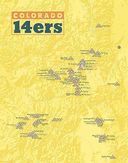 58 Colorado 14ers Map 11x14 Print (Marigold)
