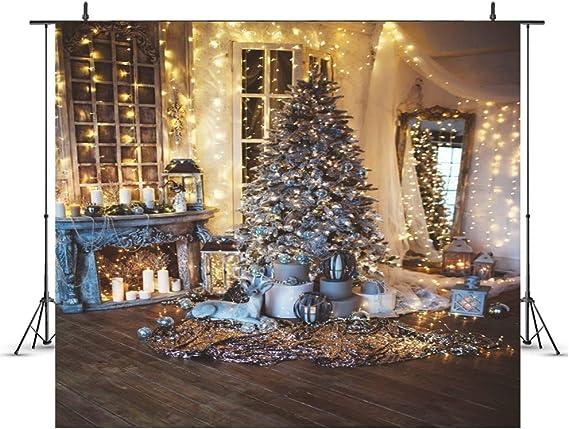 WQYRLJ Árbol Fotografía 3D telones de Fondo de Navidad escaleras de Madera Retrato de Suelo Chimenea Regalo Vinilo Fondos fotográficos Atrezzo Photo Studio,E,6x10ft: Amazon.es: Hogar