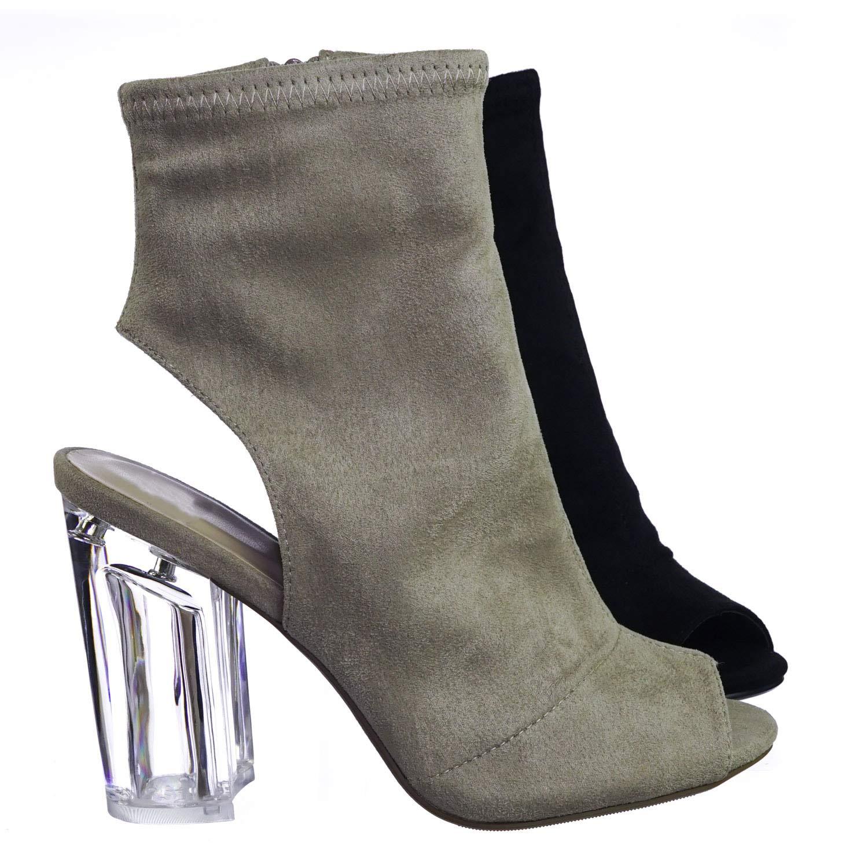 8bfda540ac6 Clear Lucite Transparent Block High Heel Bootie, Peep Toe Open Heel
