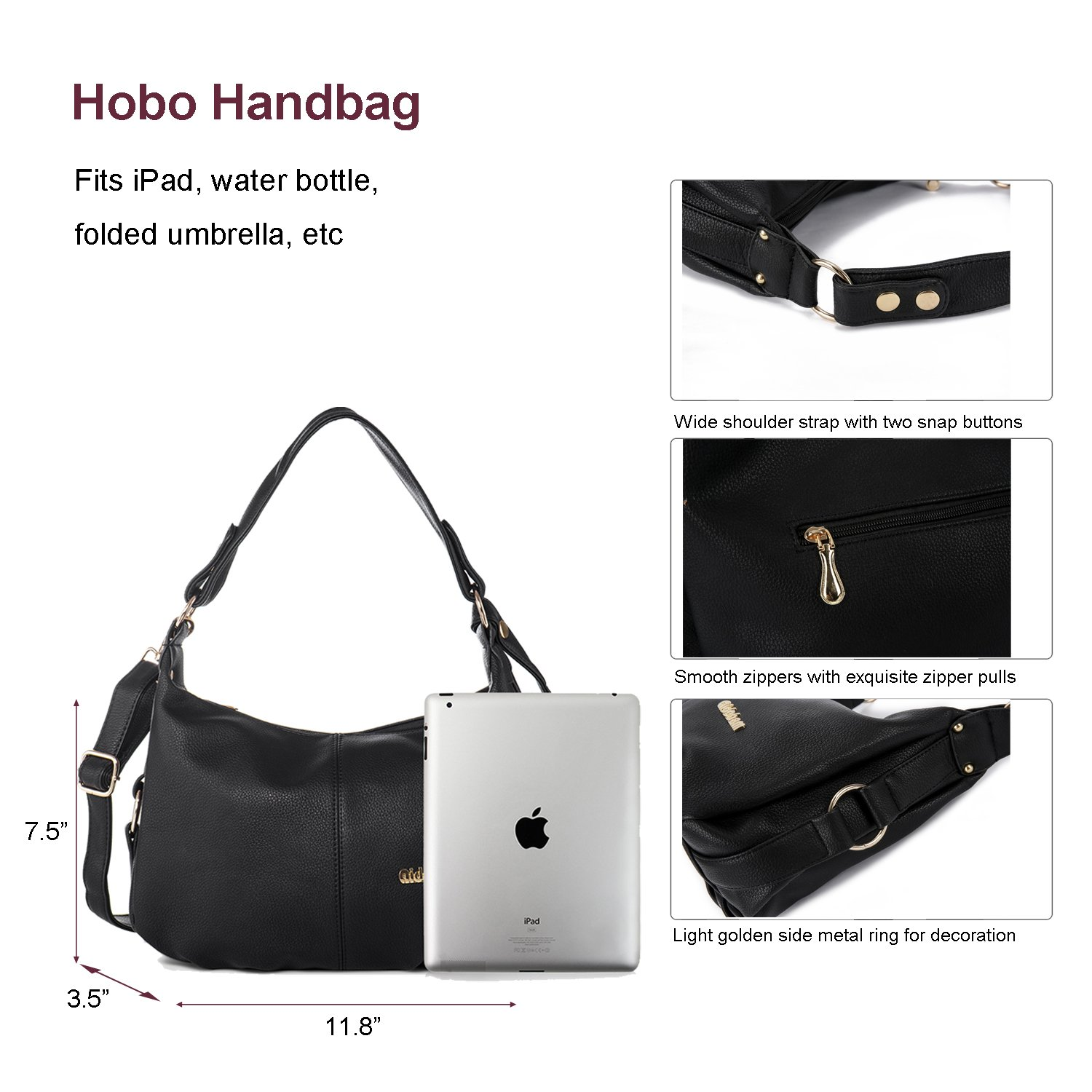 Shoulder Handbag for Women PU Leather Hobo Crossbody Purse Top Handle Bag Black + Katloo Nail Clipper by Katloo (Image #2)