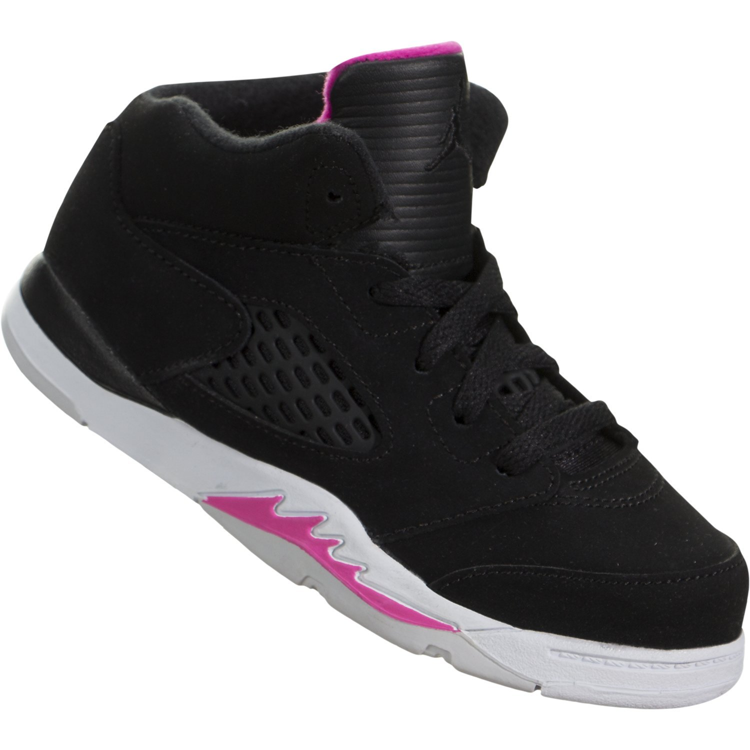 NIKE Jordan 5 Retro Toddlers Sneakers Black/Black/Deadly Pink/White 725172-029 (10 M US) by Jordan