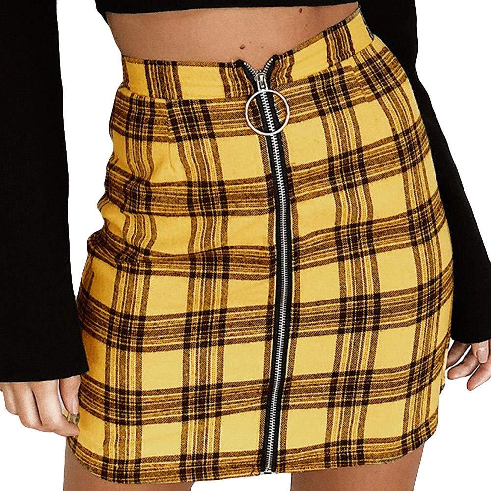 Women Elastic Waist Plaid Tartan Zipper Skirt Midi Pencil Comfy Skirt (S, Yellow)