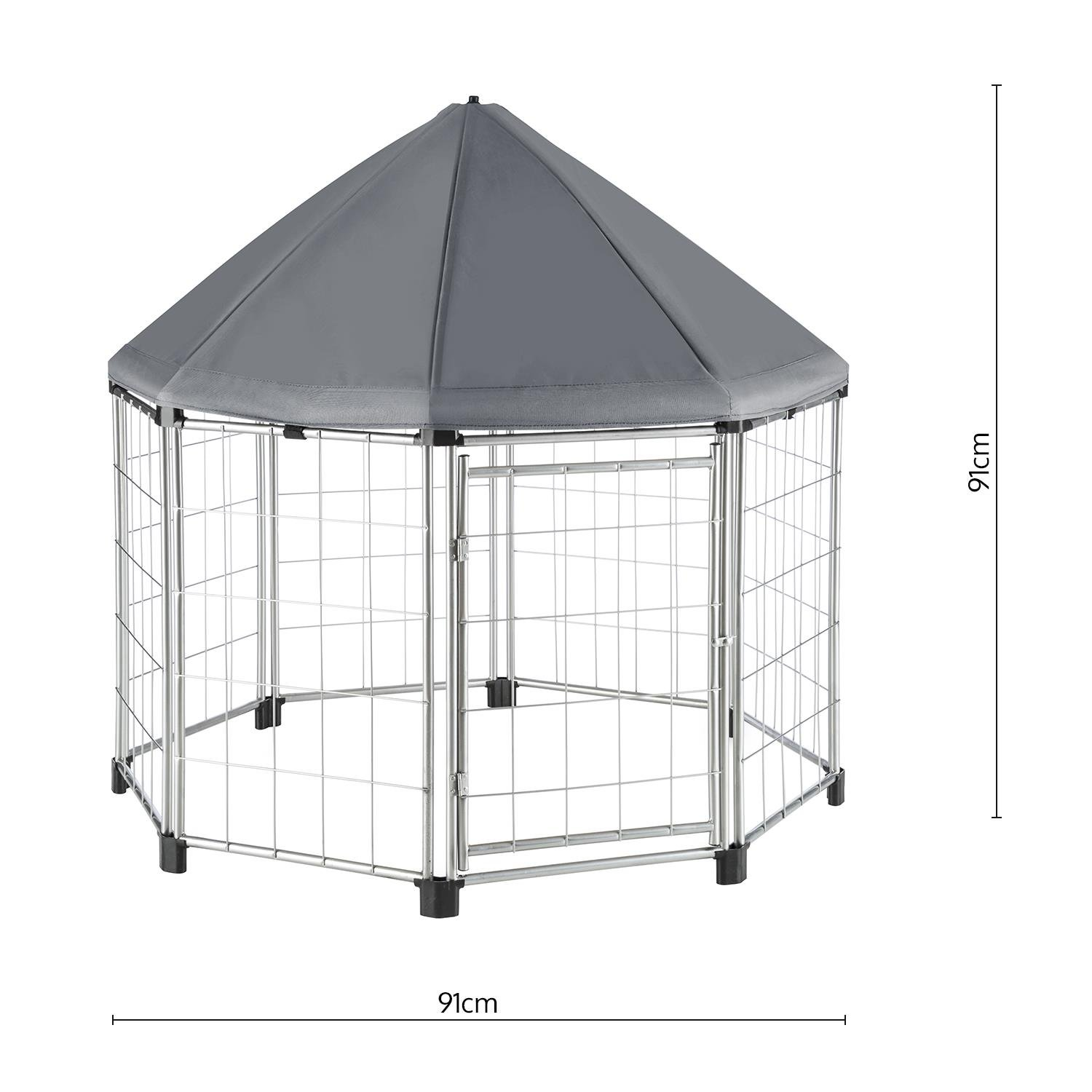 91 x 91 x 91cm, Water-Proof and UV-Resistant Sun Roof, Powder-Coated Metal Frame Beige OneConcept Fort Seasons Pet Pavilion With Canopy Puppy Enclosure
