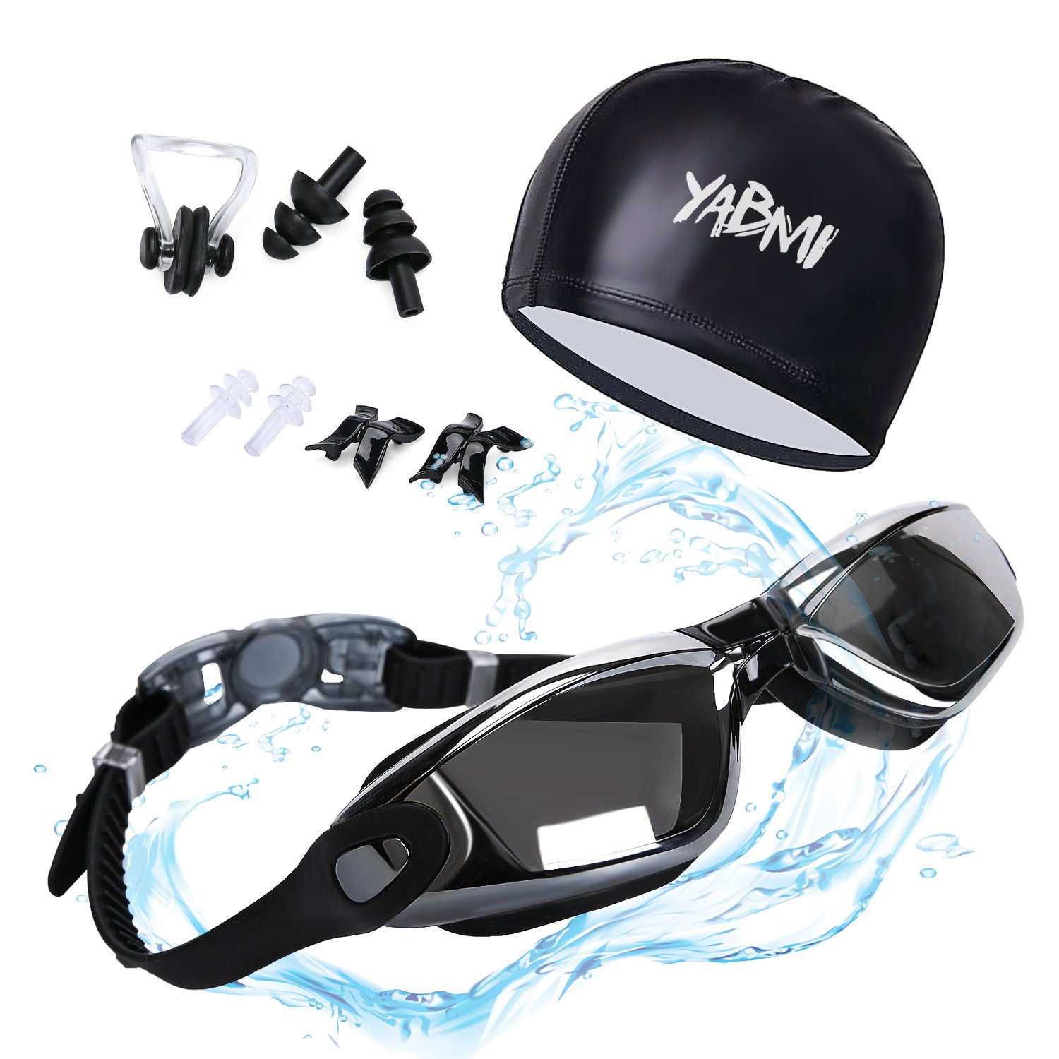 Swimming Goggles + Swim Cap + 3 Interchangeable Nose Bridge + Ear Plugs + Nose Clip,Swim Glasses No Leaking Anti Fog UV Protection for Men Women Youth By Yabmi by Yabmi