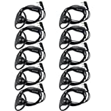 Retevis 2 Pin Walkie Talkies Earpiece D Shape Headset Earpiece Compatible Baofeng UV-5R BF-888S BF-F8HP Retevis H-777 RT21 RT22 RT27 H-777S Kenwood 2 Way Radios (10 Pack) (Color: Black)