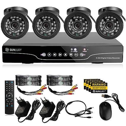 SUNLUXY® Grabador 8CH 720P DVR AHD + 4CH 720P Kit Cámaras de vigilancia IR CCTV