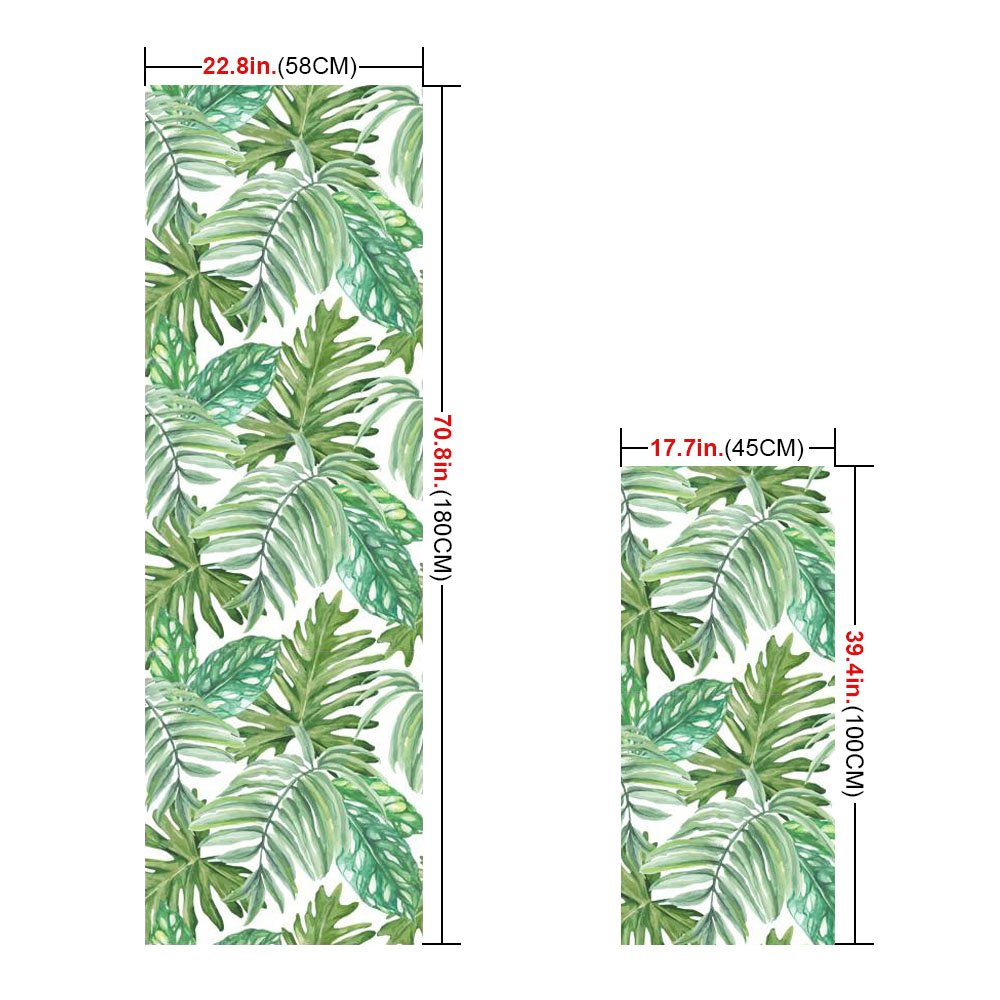 APSOONSELL Front Door and Sliding Door Window Film Art Stained Glass Static Cling, Bathroom and Kitchen Window Treatments 22.8in. By 70.8in. (58 x 180CM), Rainforest