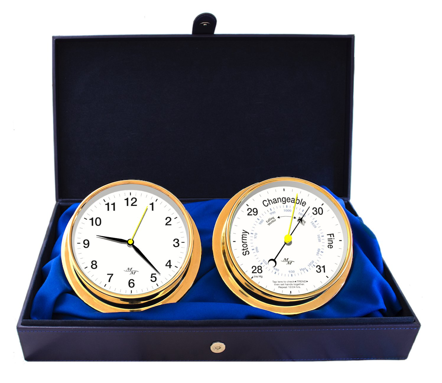 Cabin Gift Set Clock & Barometer by Master-Mariner, Gold finish, White dial