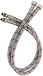 """Bathfinesse Flexible Connector Braided Stainless Steel Supply Lines 24"""" Length 3/8-Inch Female Compression Thread x M10 Male Connector, x 2 Pcs (1 Pair)"""