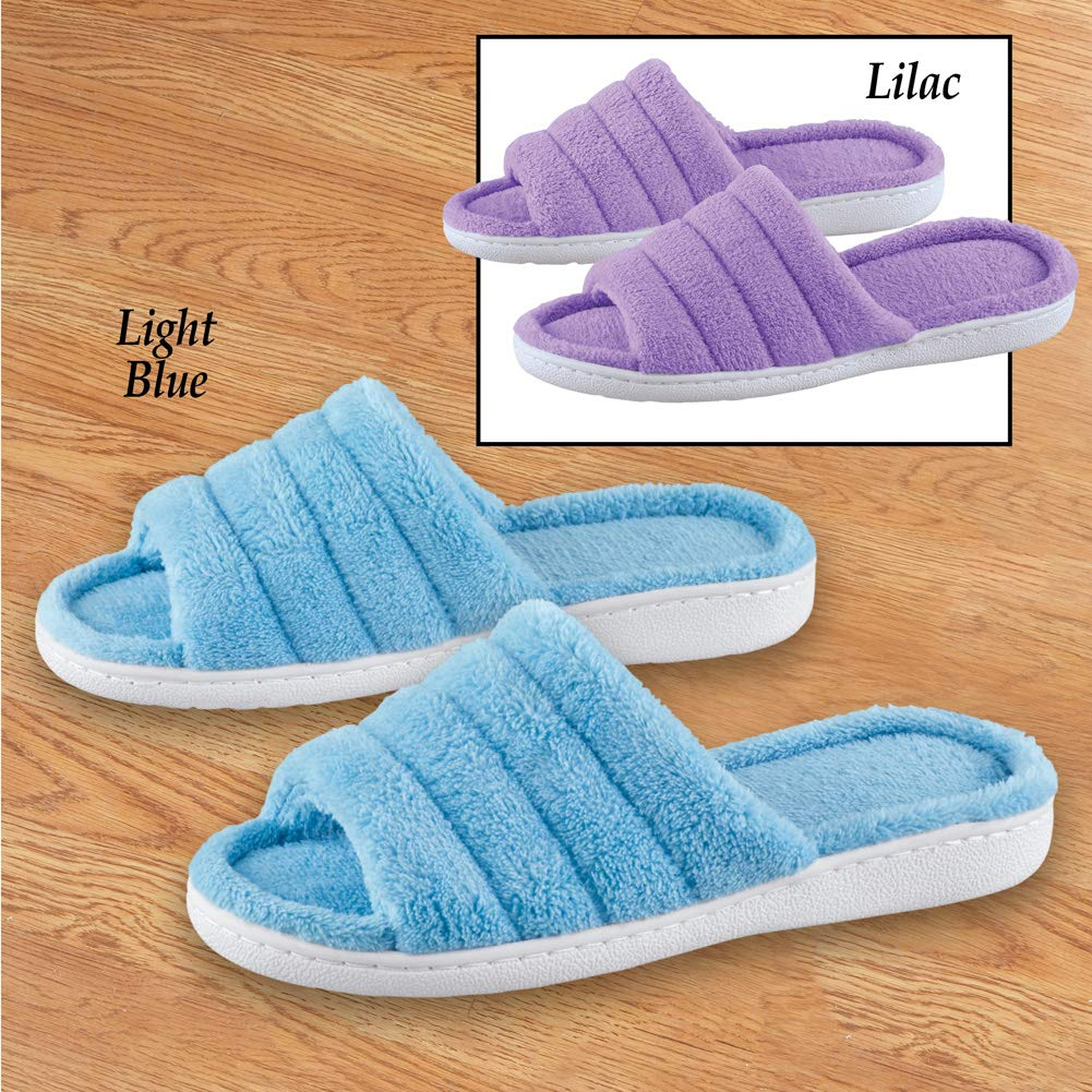 Lilac Medium Soft Terry Slippers with Cushioned Insoles and Skid-Resistant Soles House Shoes for Everyday Use