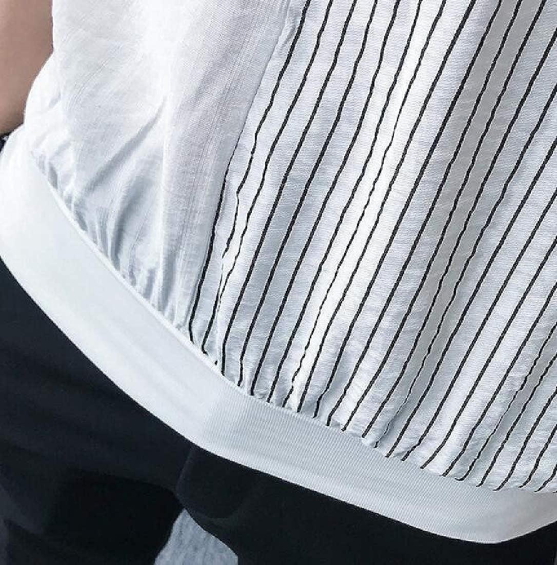 WSPLYSPJY Mens Casual Shirt Short Batwing Sleeve Striped Button Down Shirts