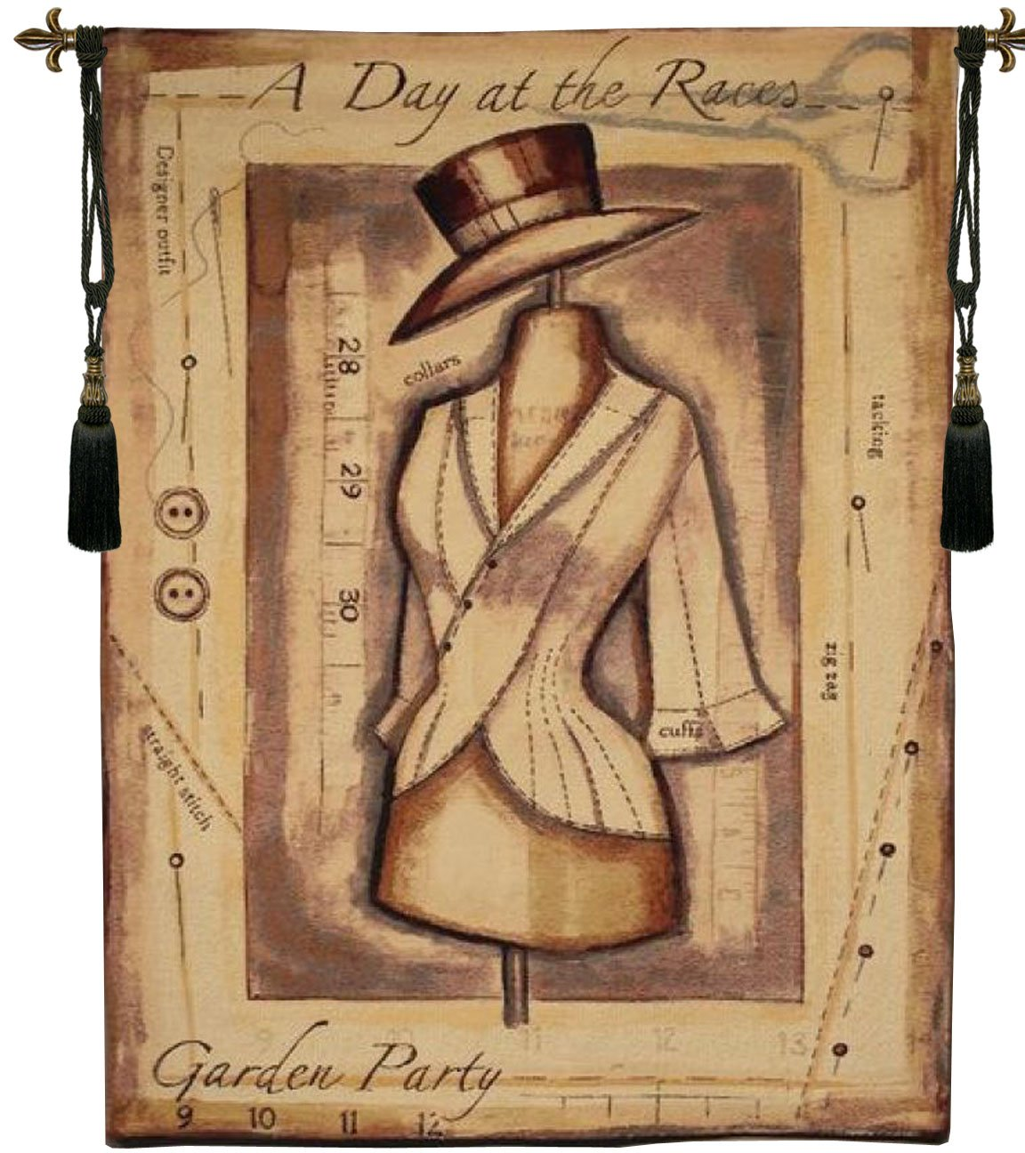 Garden Party Day at the Races Belgian Tapestry Wall Hanging by Charlotte Home Furnishings Inc.