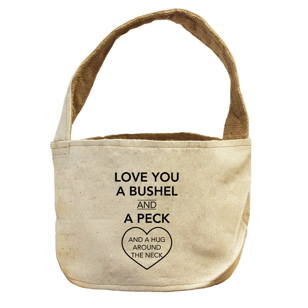 Style in Print Love You Bushel And Peck Canvas and Burlap Storage Basket Basket