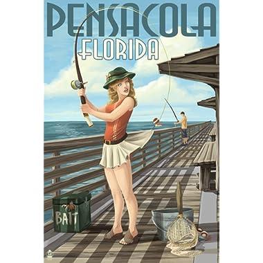 Pensacola, Florida - Fishing Pinup Girl (24x36 Fine Art Giclee Gallery Print, Home Wall Decor Artwork Poster)