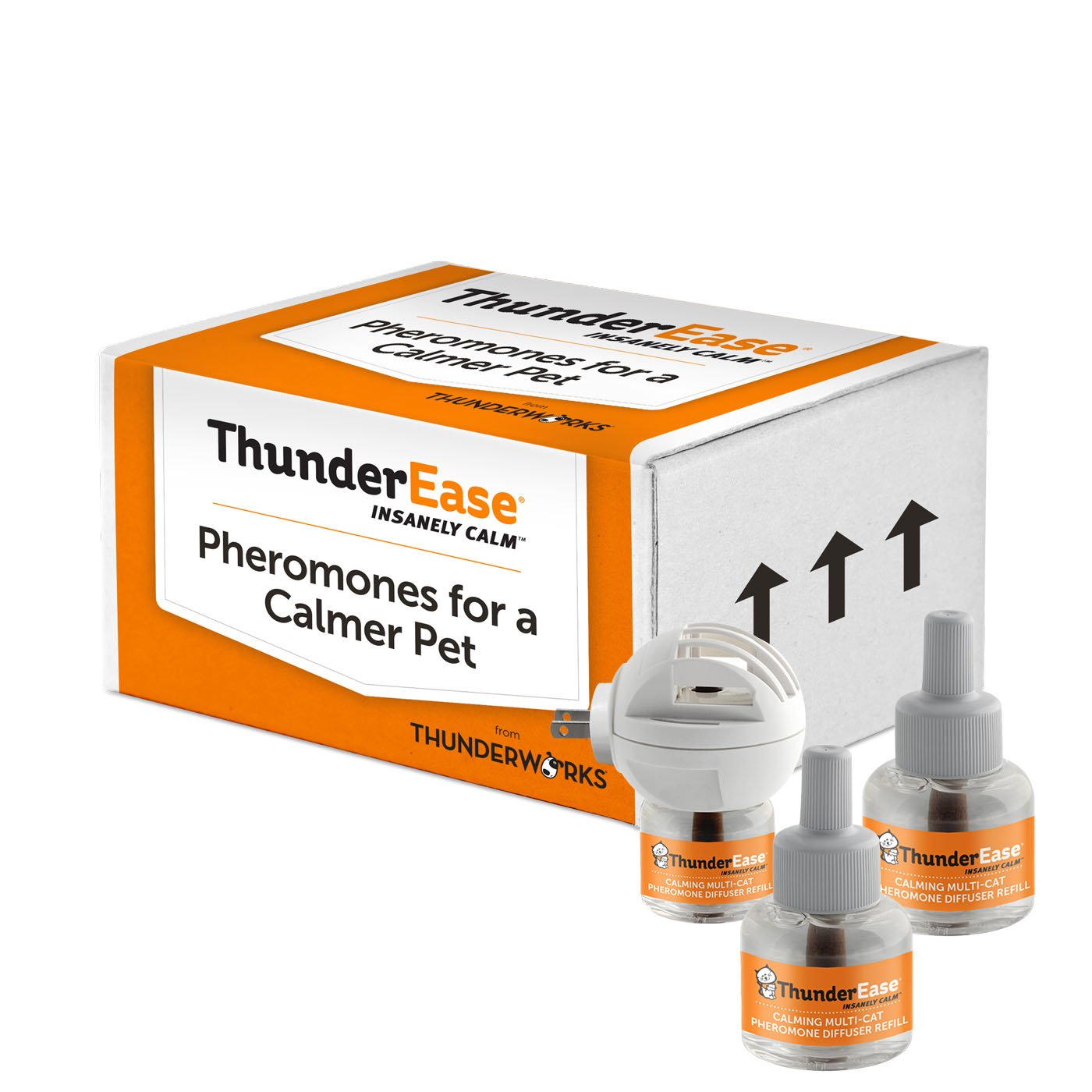 ThunderEase Multicat Calming Pheromone Diffuser Kit | Powered by FELIWAY | Reduce Cat Conflict, Tension and Fighting (90 Day Supply) by ThunderEase
