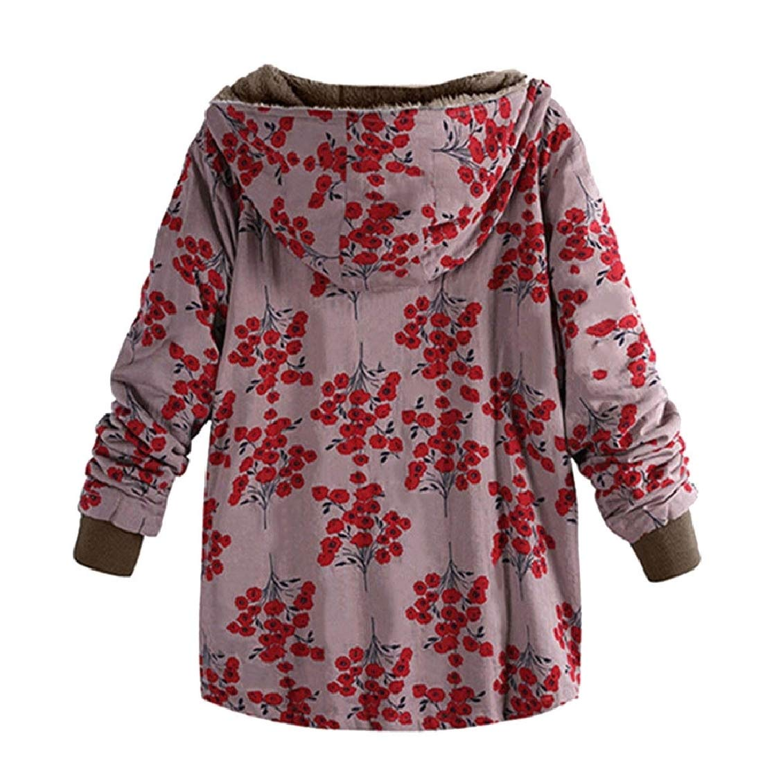 YUNY Womens with Hood Printing Plus-Size Vintage Thick Business Coat 1 XS