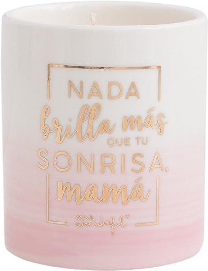 Mr. Wonderful Vela Nada Brilla Más Que Tu Sonrisa, Mamá, Cera, Blanco, 9.2x7.6x7.6 cm: Amazon.es: Hogar