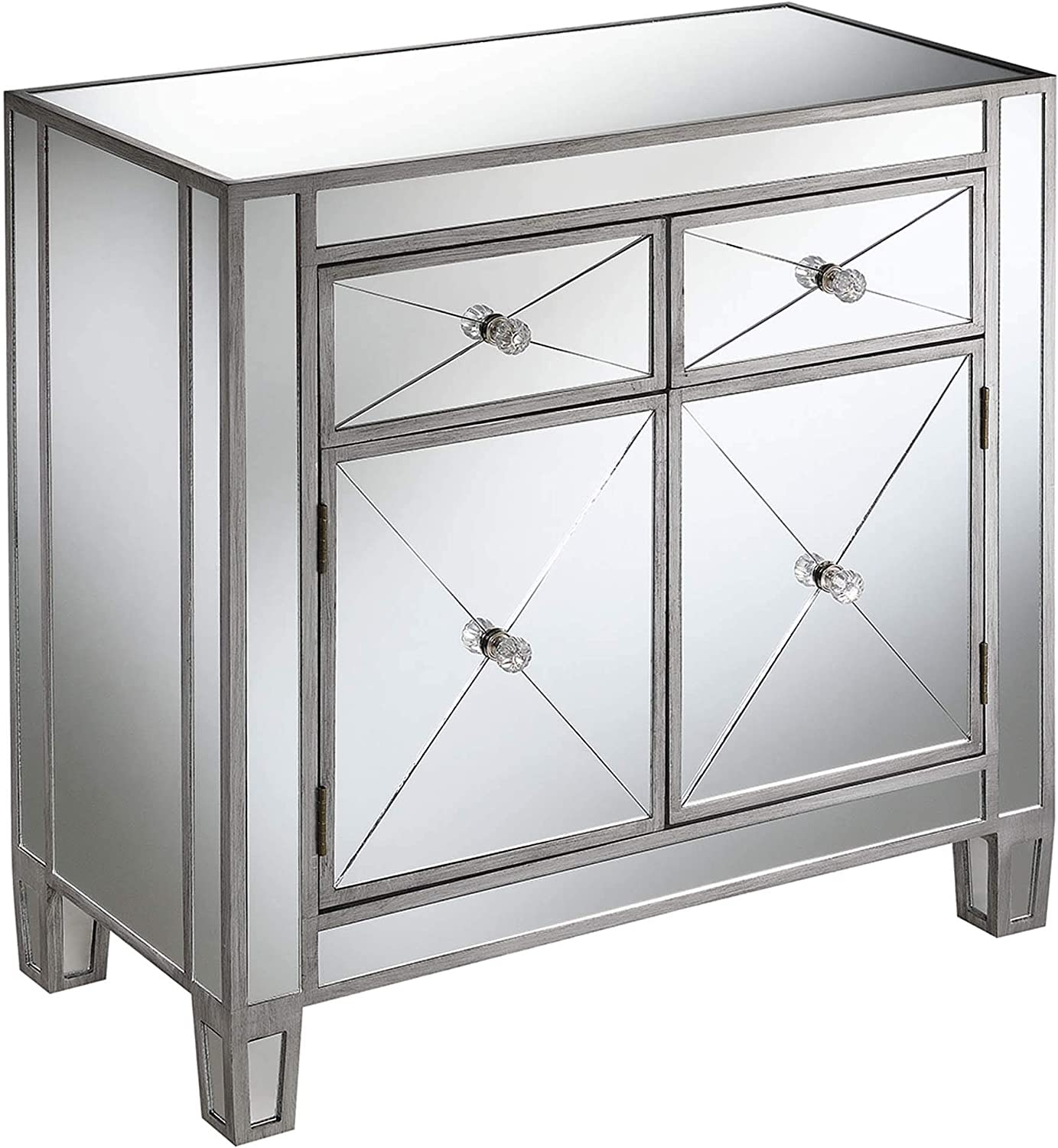 Convenience Concepts Gold Coast Vineyard 2 Drawer Mirrored Hall Table, Antique Silver