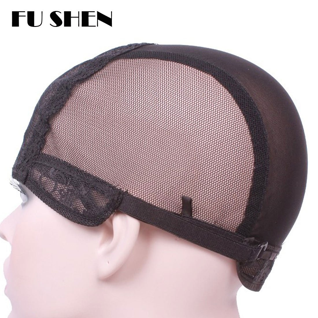 Elastic Wig Caps For Making Wigs Stretch Lace Weaving Cap Extra Large For Big Head with Adjustable Straps and Combs (Black 1 Piece XL-23Inch) by FU SHEN (Image #3)