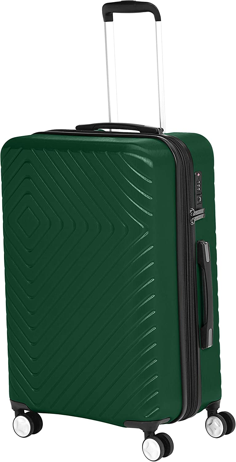 AmazonBasics Geometric Travel Luggage Expandable Suitcase Spinner with Wheels and Built-In TSA Lock, 27.2-Inch - Green