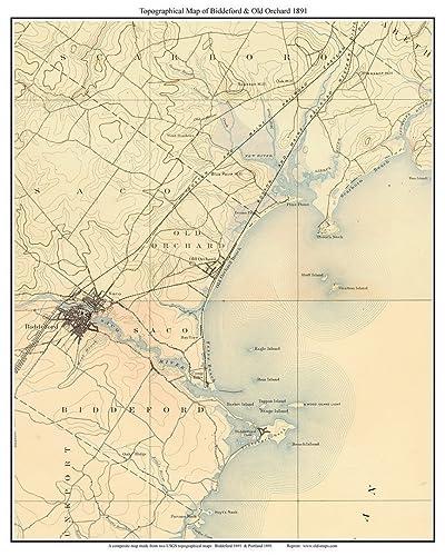 Amazon Com Biddeford Old Orchard 1891 Old Topographic Map Usgs Custom Composite Reprint Maine Handmade