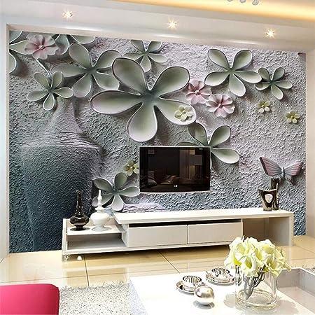 Amazhen Papier Peint Sur Mesure 3d Relief Mural Floral