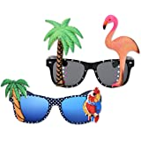 PLAY BLING 2 Pieces Hawaiian Tropical Novelty Sunglasses Flamingo Parrot Tree Party Glasses Eyewear for Fancy Dress