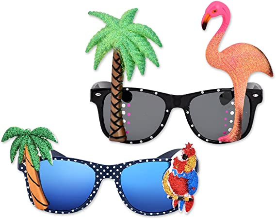 Ladies Hawaii Summer Fancy Dress Accessories Glasses With Flamingo /& Palm Tree