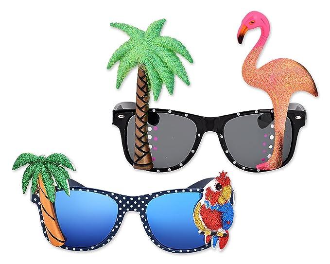 Gafas hawaianas para fiesta tropical - Gafas de sol con palmera y flamingo.