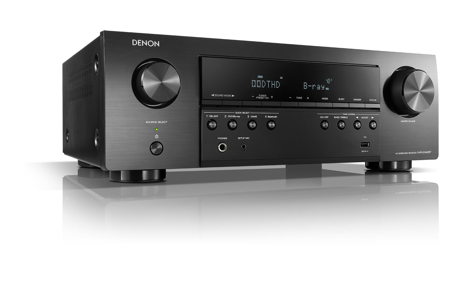 Denon AVR-S540BT Receiver, 5.2 channel, 4K Ultra HD Audio and Video, Home Theater System, built-in Bluetooth and USB port, Compatible with HEOS Link for Wireless Music Streaming by Denon