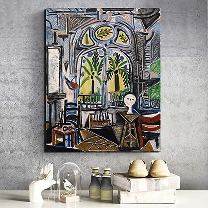 Tzxdbh Pablo Picasso Atelier Hd Canvas Schilderij Prints Woonkamer Huisdecoratie Artwork Moderne Muur Kunst Olie Schilderen Posters Foto S Kunst No Frame 8x10 Inch Amazon Nl