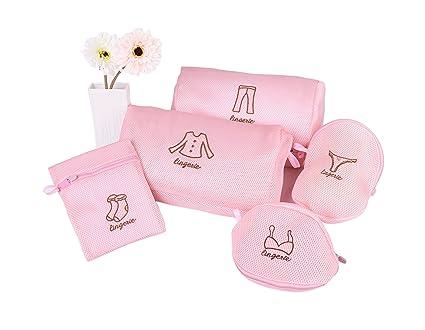 naiver 5 unidades de doble capa de malla lavado bolsa de lavandería lencería red de bolsa