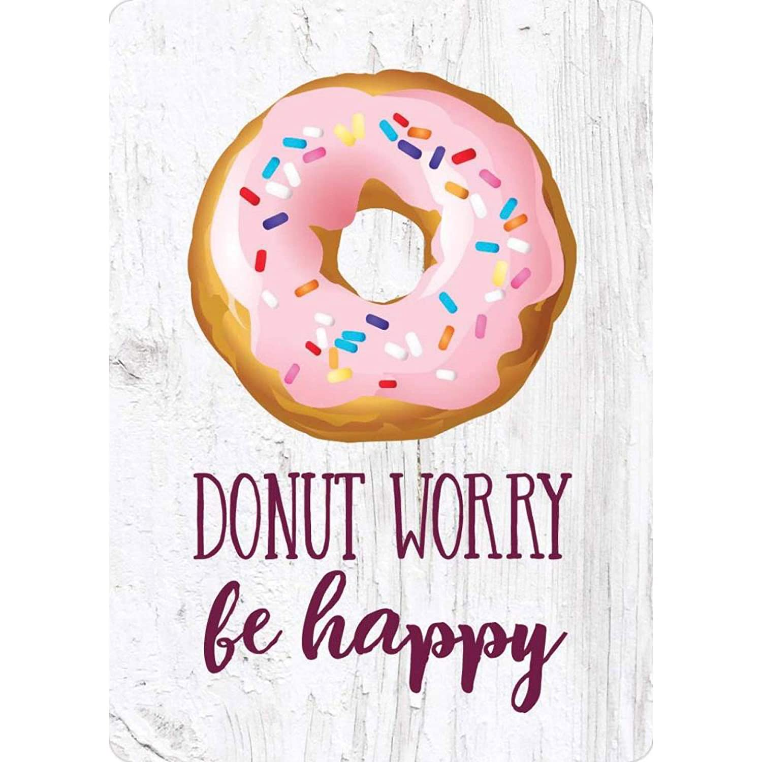 P. Graham Dunn Donut Worry Be Happy Whitewashed Pink Sprinkles 4 x 3 Wood Refrigerator Magnet