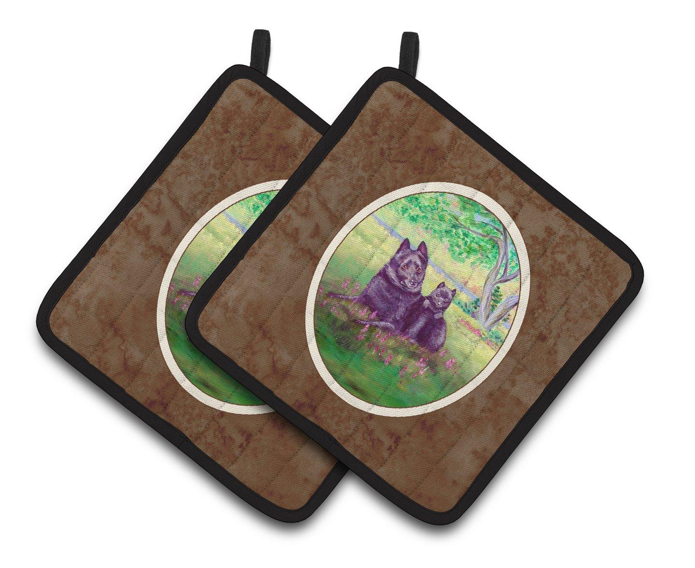 7.5HX7.5W Multicolor Carolines Treasures Schipperke /& Puppy Pair of Pot Holders 7263PTHD