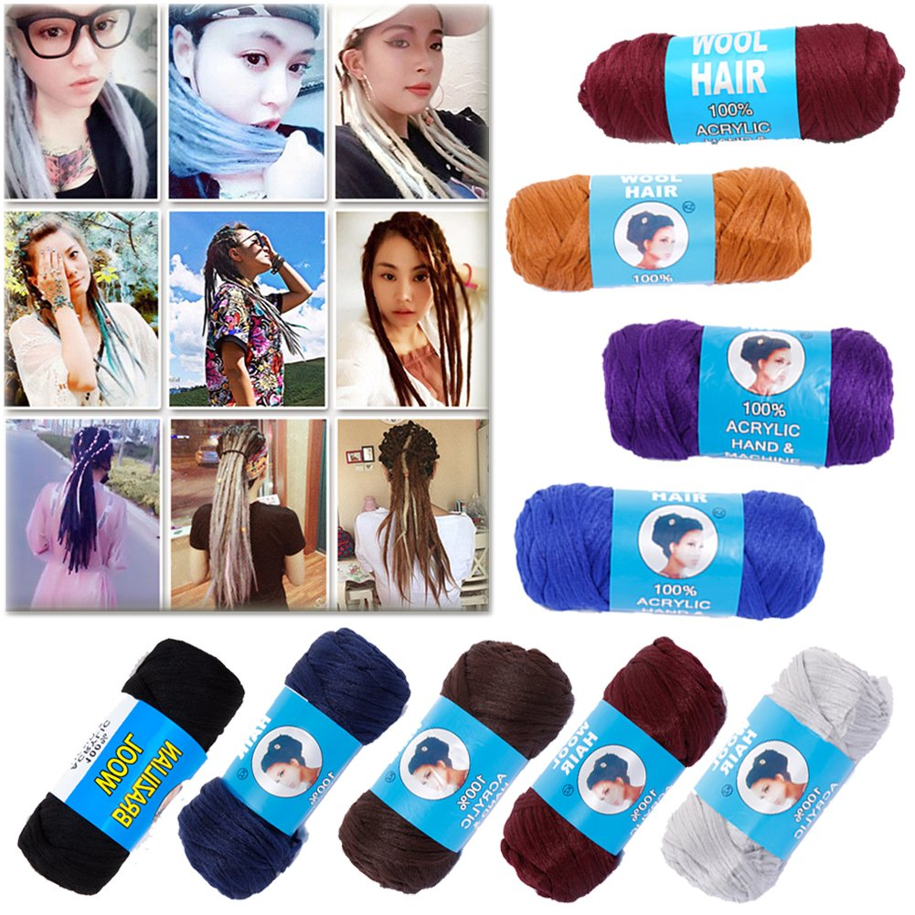 Brazilian Wool Hair 3 Rolls -100% Acrylic Hand & Machine Knitting Yarn for African Hair Braiding Sengalese Twisting Jumbo Braids/Crochet Faux Locs/Wraps/Dreadlocks (Black)