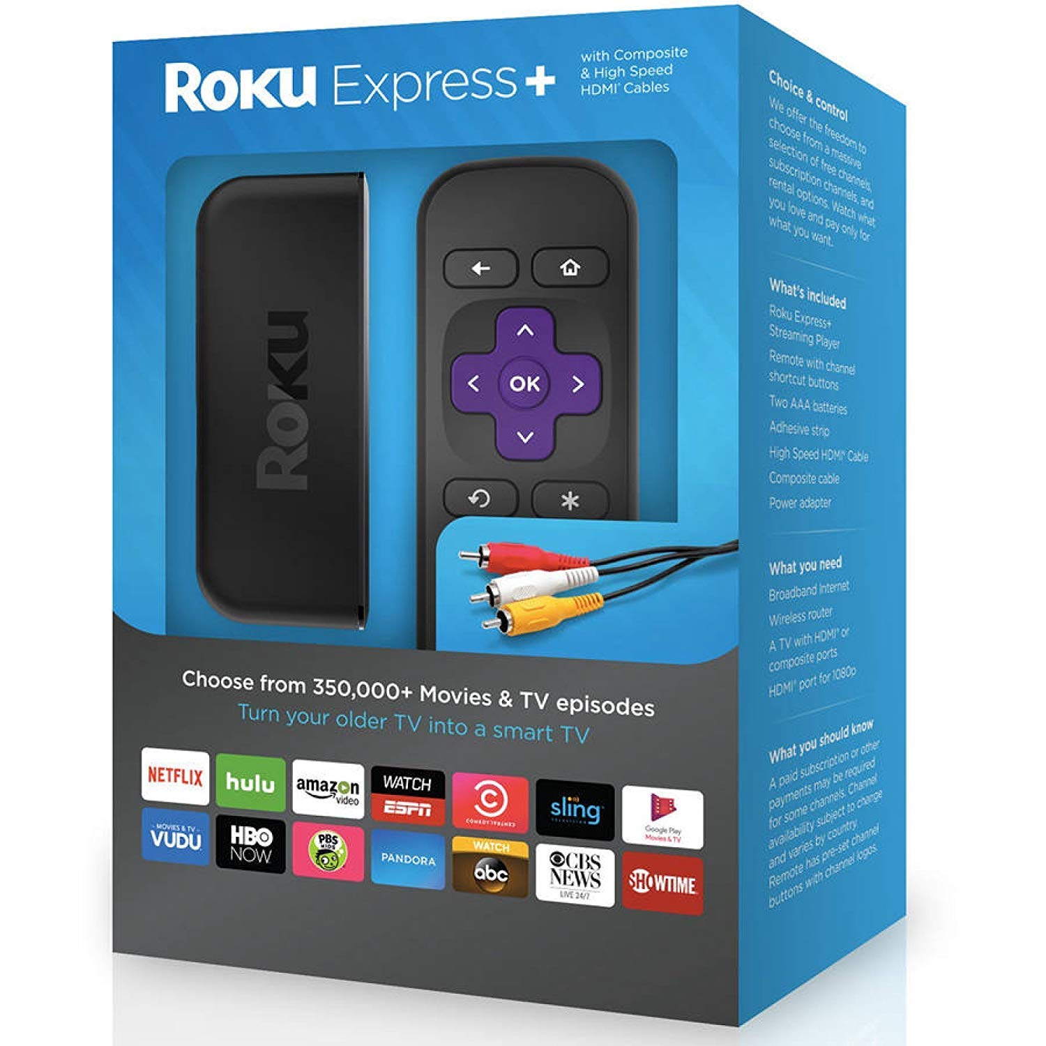 Roku Express+ | HD Streaming Media Player, includes HDMI and Composite Cable by Roku