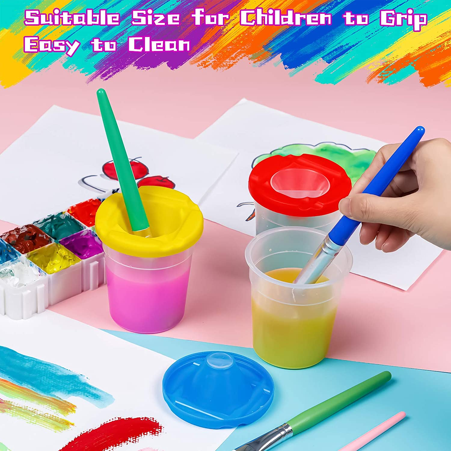 Spill Proof Paint Cups for Kids 3.5 Inches Tall Classroom 3 PCS Colorful No Spill Paint Cups with Lids Kids Art Paint Supplies for School