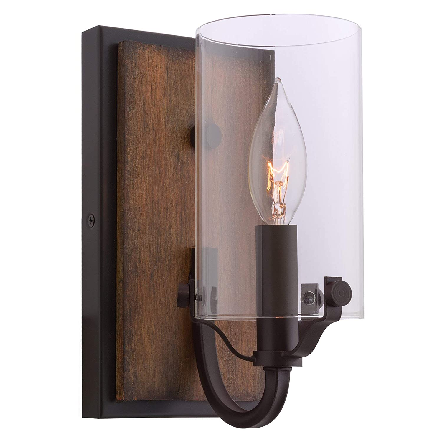 """Kira Home Aspen 9"""" Transitional Wall Sconce, Clear Glass Cylinder Shade, Oil Rubbed Bronze + Wood Finish"""