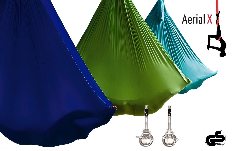 AerialX Aerial Yoga Fitness Tuch Set - GS geprüfte Sicherheit aus Deutschland - viele Farben & Varianten - Decken Anker AerialYoga-Berlin