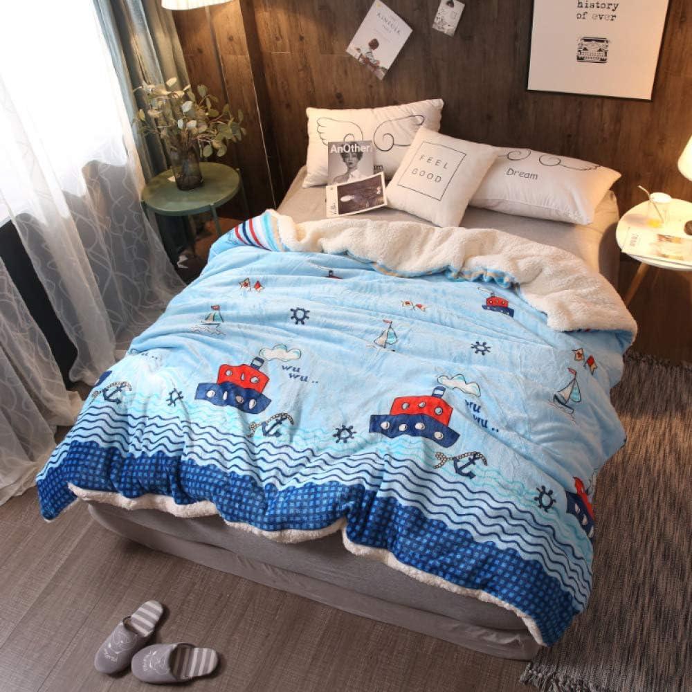 DUOAIQI Manta pequeña Acolchada Doble Cubierta del sofá Manta Cordero Terciopelo Coral Terciopelo Manta Cubierta de edredón para niñosLos 2 * 2.3m