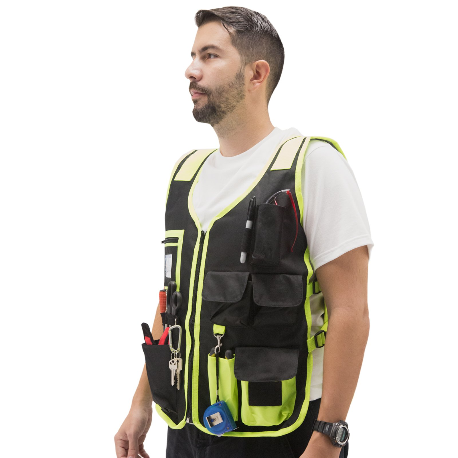 JORESTECH High Visibility Tool Vest with reflective strips (Green)