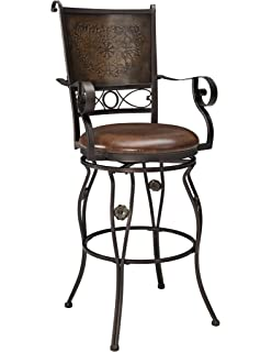 Genial Powell Company Big And Tall Copper Stamped Back Barstool With Arms
