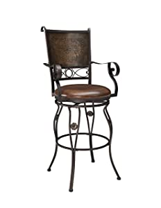 Powell Company Big and Tall Copper Stamped Back Barstool with Arms