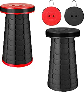 2 Pack Portable Folding Stool Set, Collapsible & Retractable Chair for Adults, Telescopic Fordable Furniture for Camping Fishing Hunting Hiking BBQ Outdoor and Indoor Activities( Black&Red) by BOWINR
