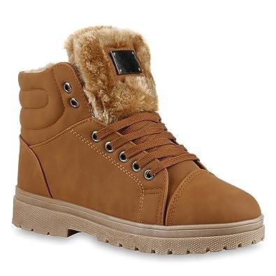 4e383bc5aa4c9a Damen Stiefeletten Stiefel Worker Boots Warm Gefüttert Kunstpelz Schuhe  128490 Hellbraun Braun Knopf 36 Flandell