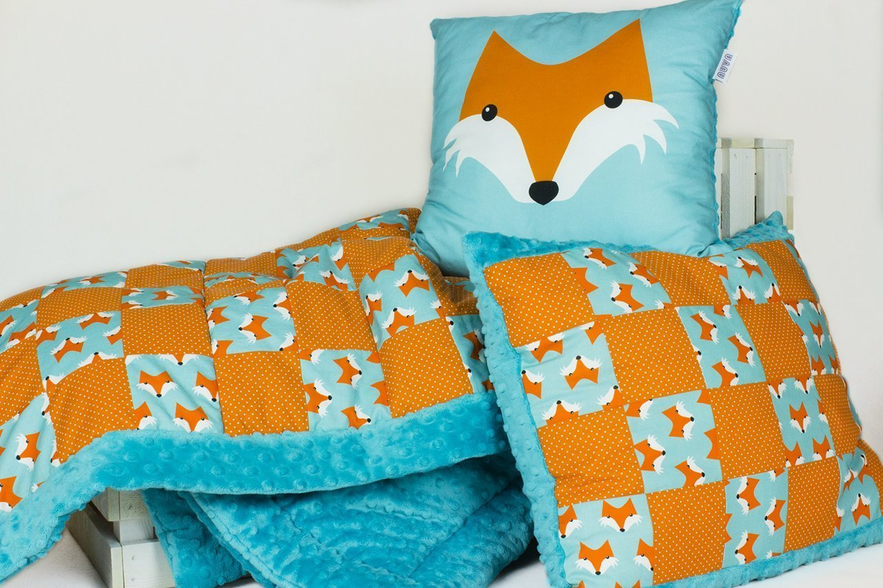 Toddler quilt set. Handmade Patchwork Baby blanket, and two pillows. Fox .