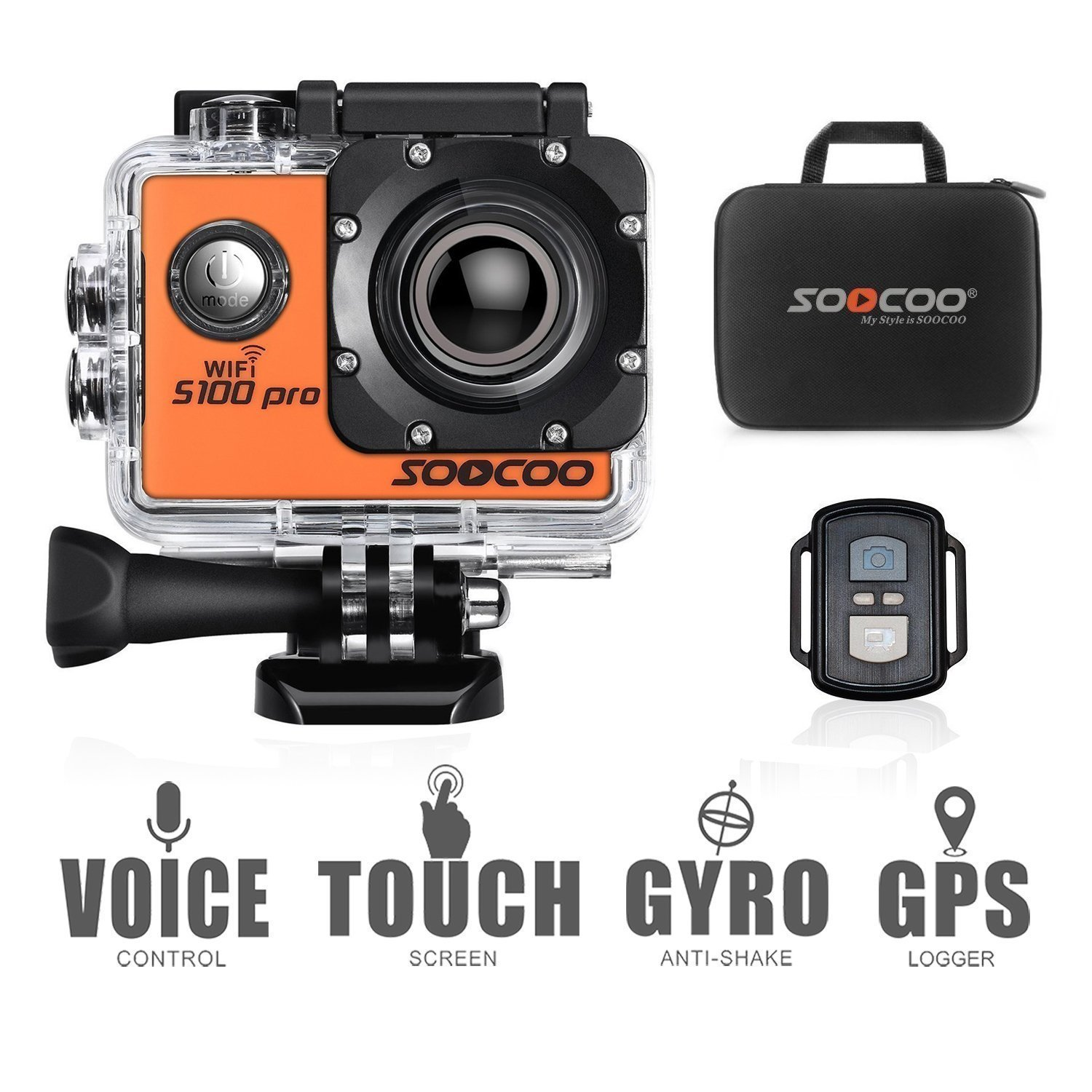 4K WiFi Action Camera Touchscreen, SOOCOO S100 Pro Sports Camera Ultra HD Waterproof DV Camcorder Voice Control 20MP 170°Wide-Angle 2'' LCD 2.4G Remote Control/2 Batteries/17 Kits Travel Bag-Orange by SOOCOO